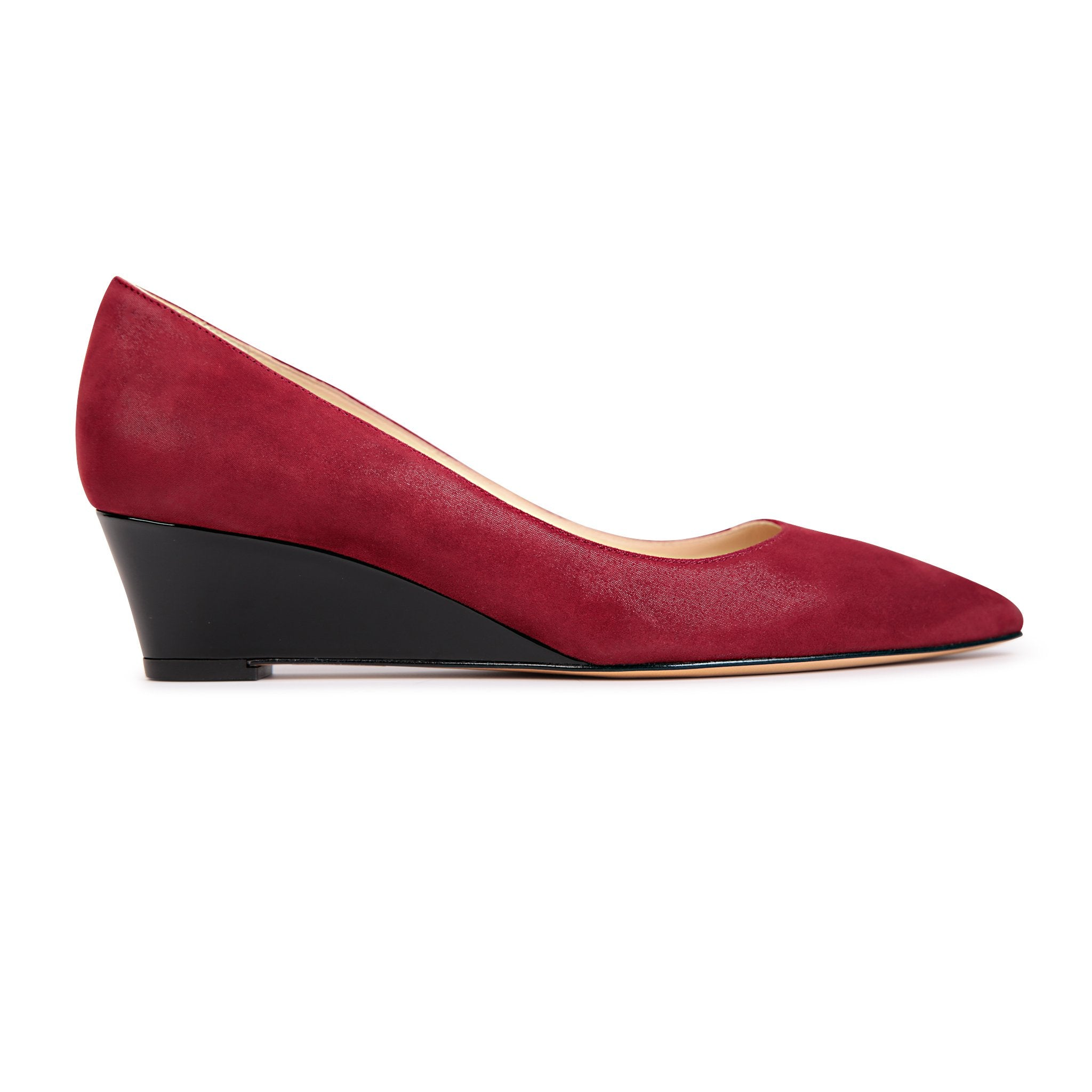 TRENTO - Hydra Bordeaux + Patent Nero, VIAJIYU - Women's Hand Made Sustainable Luxury Shoes. Made in Italy. Made to Order.