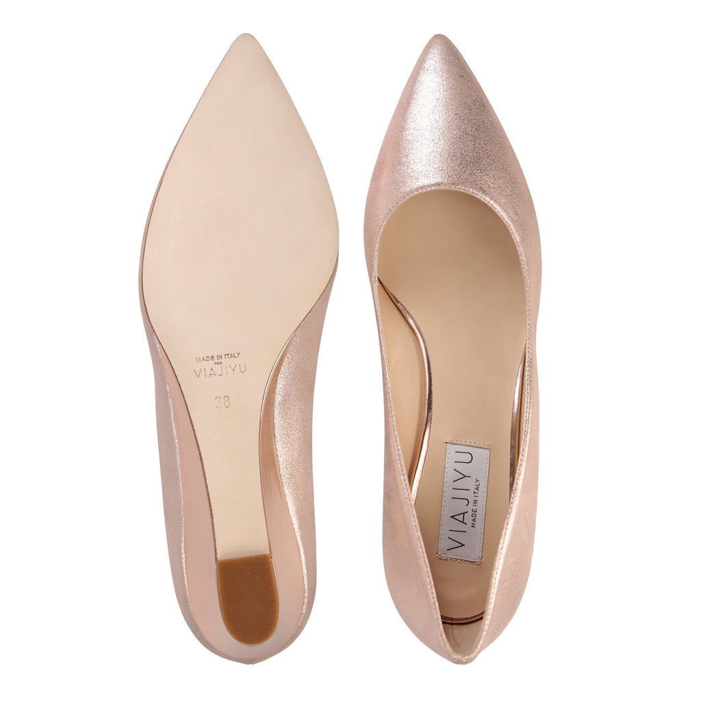 TRENTO - Burma Rose Gold + Metallic Light Copper, VIAJIYU - Women's Hand Made Sustainable Luxury Shoes. Made in Italy. Made to Order.