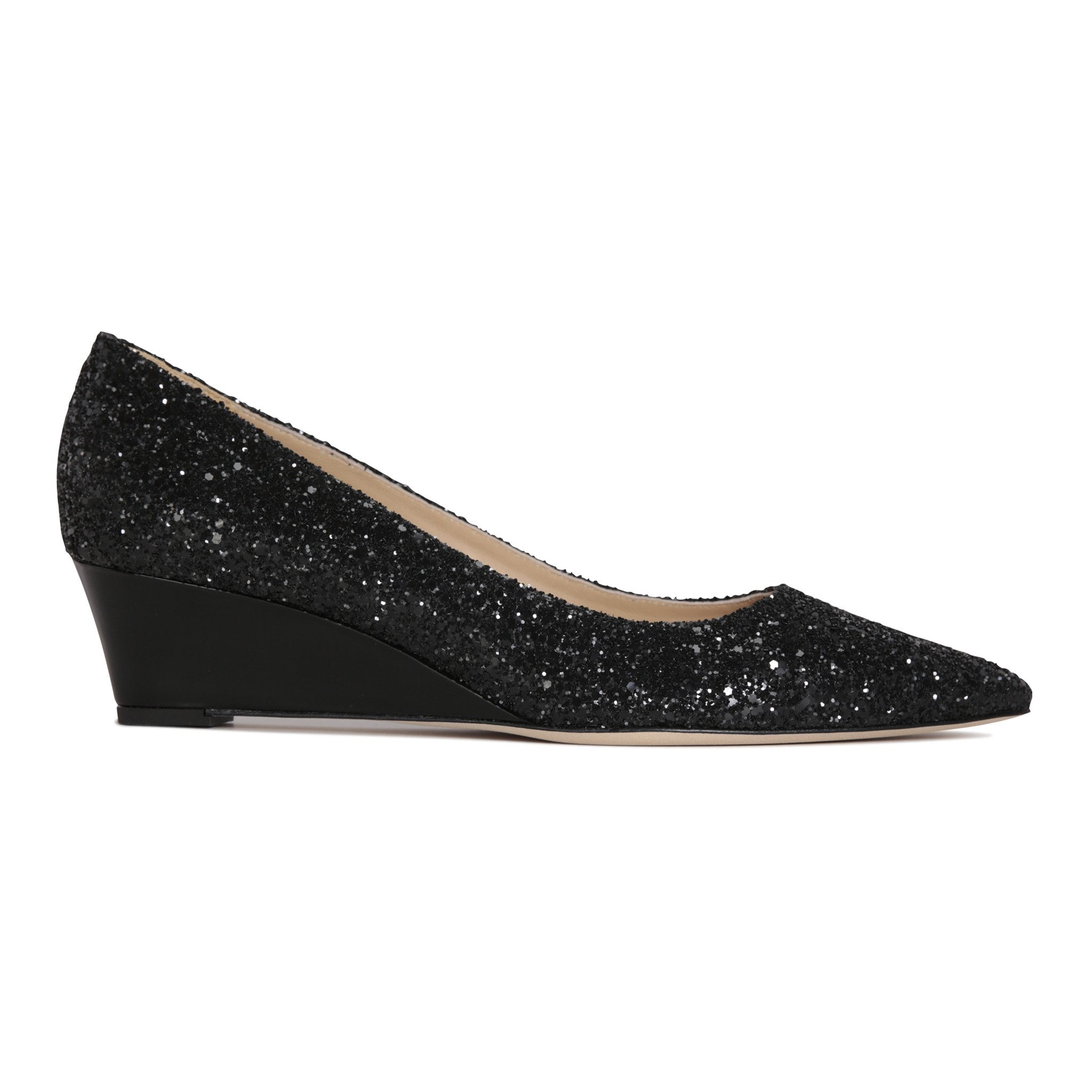 TRENTO - Glitter Nero + Patent Nero, VIAJIYU - Women's Hand Made Sustainable Luxury Shoes. Made in Italy. Made to Order.