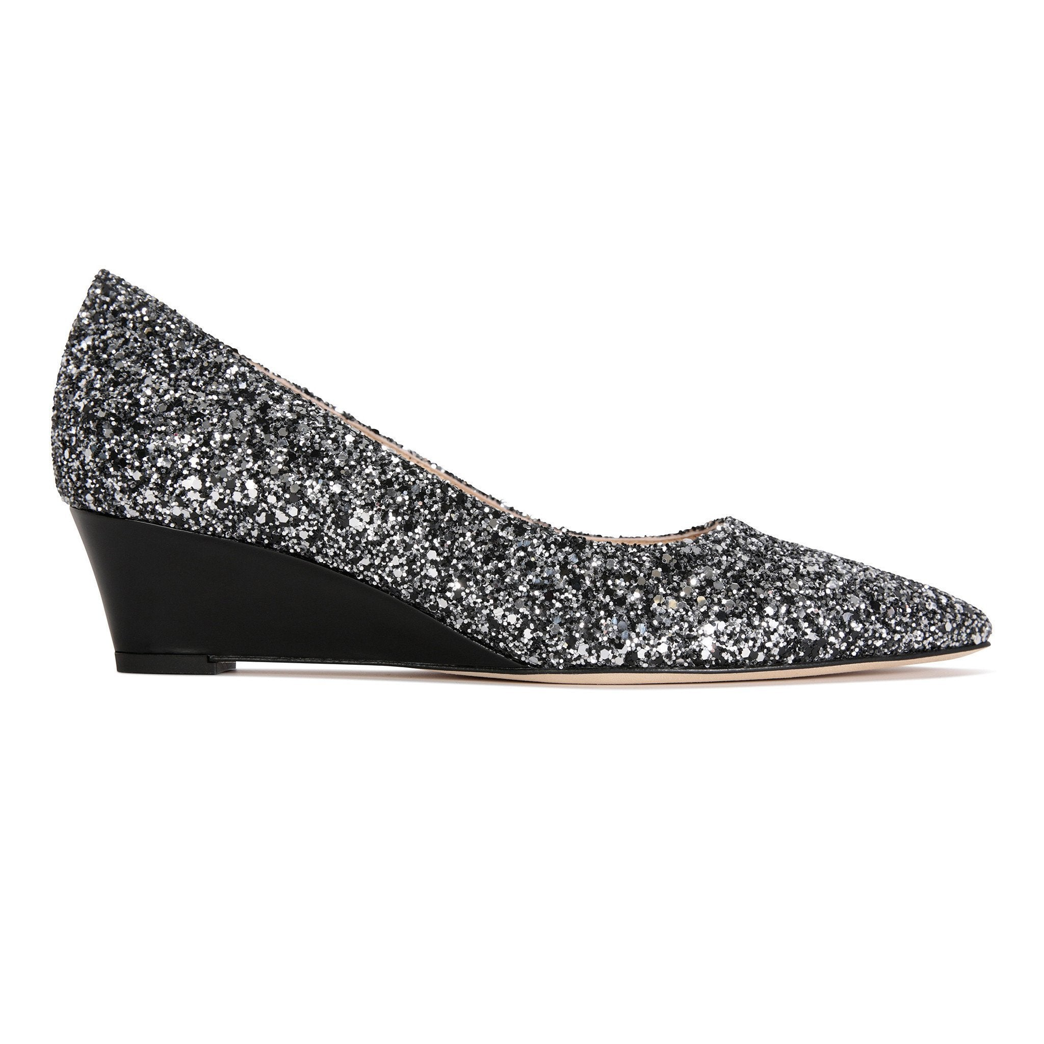 TRENTO - Glitter Notte + Patent Nero, VIAJIYU - Women's Hand Made Sustainable Luxury Shoes. Made in Italy. Made to Order.