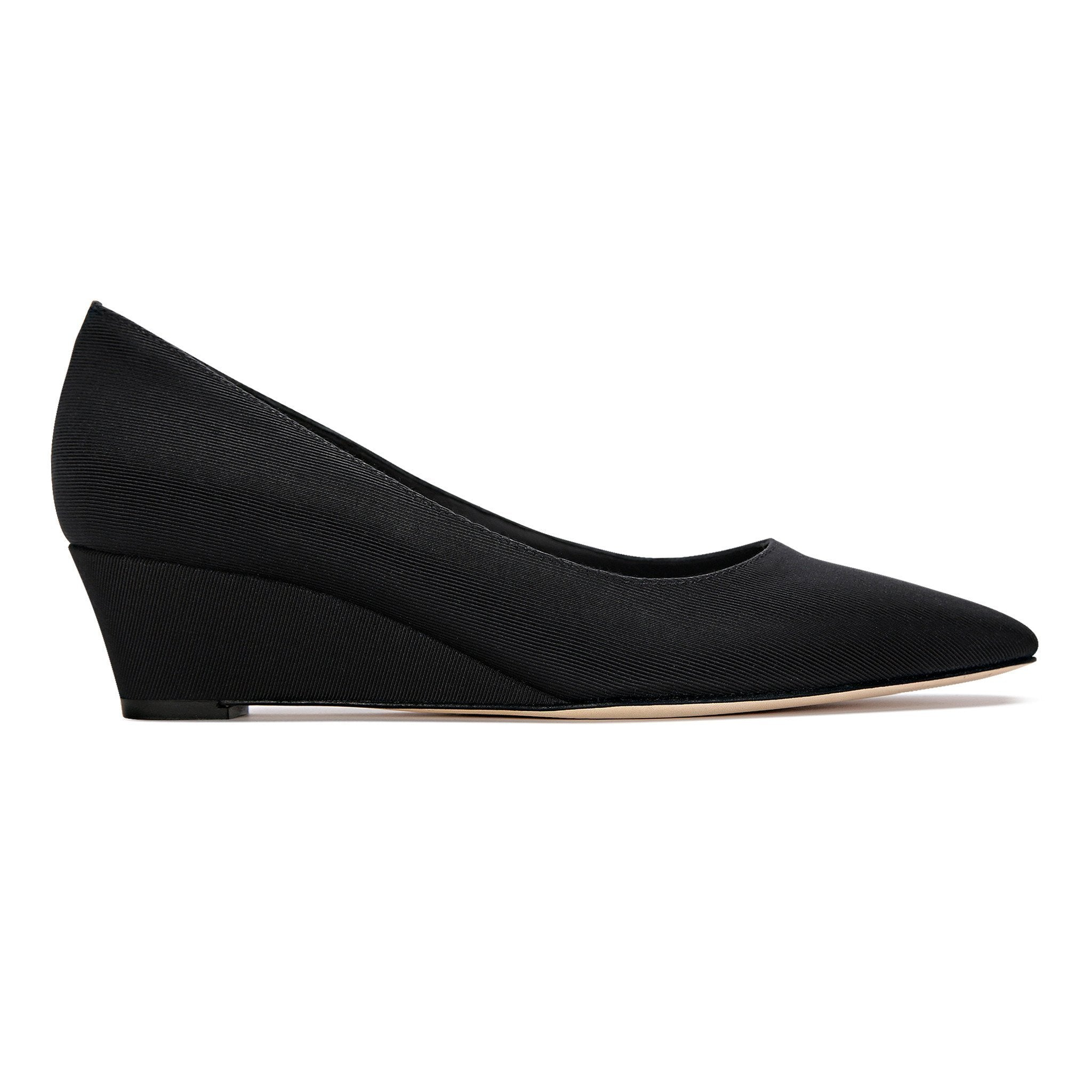 TRENTO - Grosgrain Nero, VIAJIYU - Women's Hand Made Sustainable Luxury Shoes. Made in Italy. Made to Order.