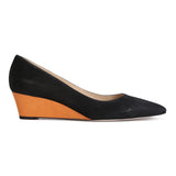 TRENTO - Hydra Nero + Karung Mandarin, VIAJIYU - Women's Hand Made Sustainable Luxury Shoes. Made in Italy. Made to Order.