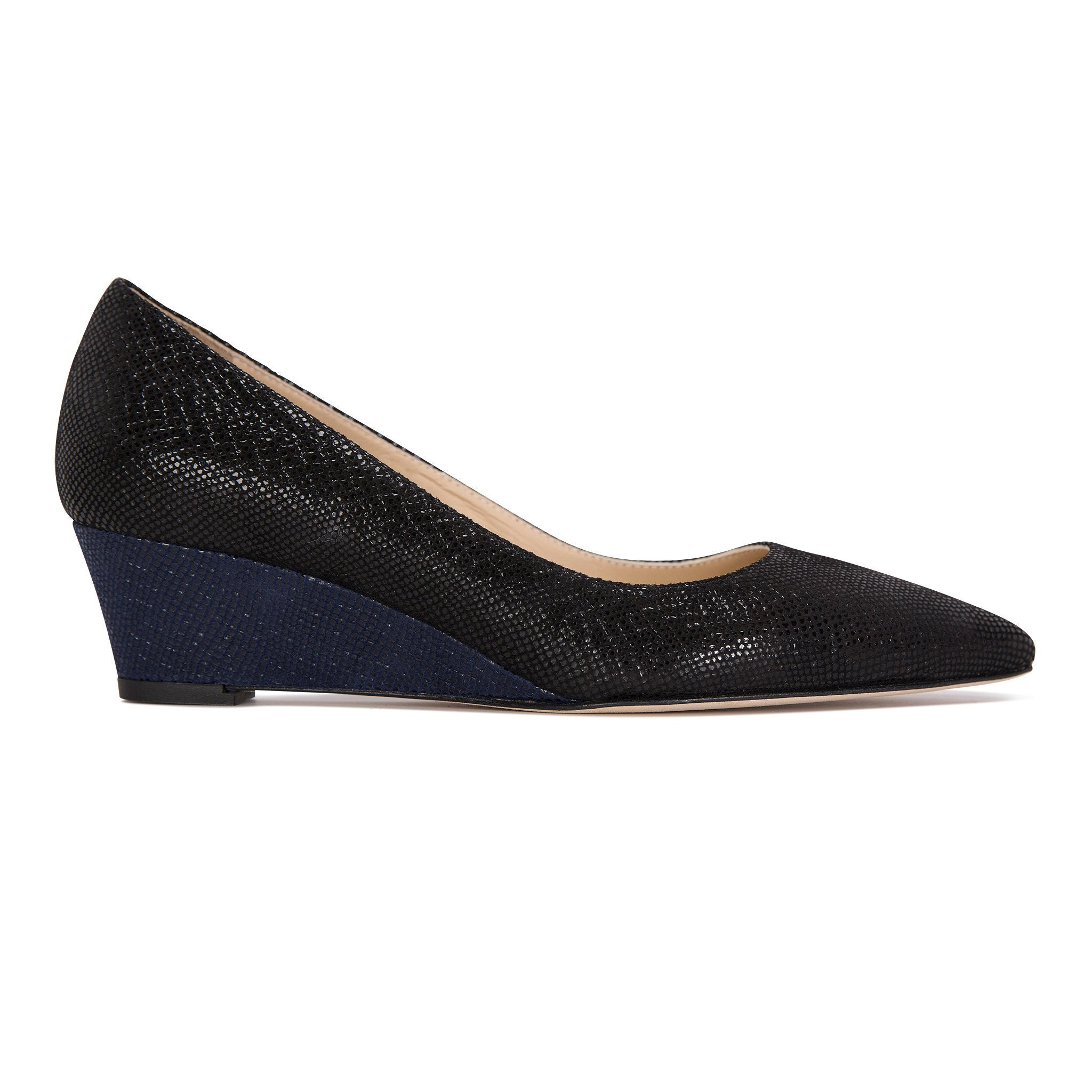 TRENTO - Karung Nero + Midnight, VIAJIYU - Women's Hand Made Sustainable Luxury Shoes. Made in Italy. Made to Order.