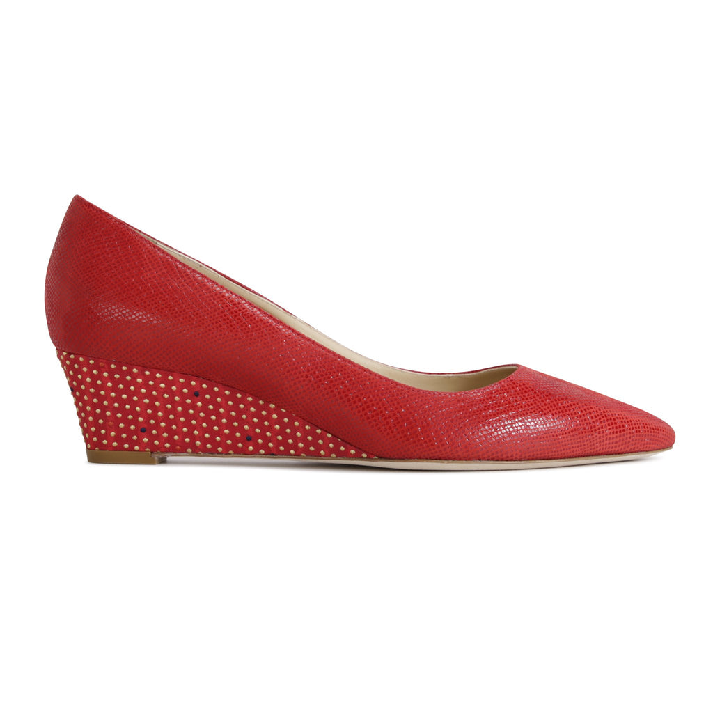 TRENTO - Karung Rosso + Textile Chili Minidot, VIAJIYU - Women's Hand Made Sustainable Luxury Shoes. Made in Italy. Made to Order.