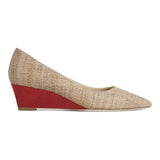 TRENTO - Raffia Natural + Karung Rosso, VIAJIYU - Women's Hand Made Sustainable Luxury Shoes. Made in Italy. Made to Order.