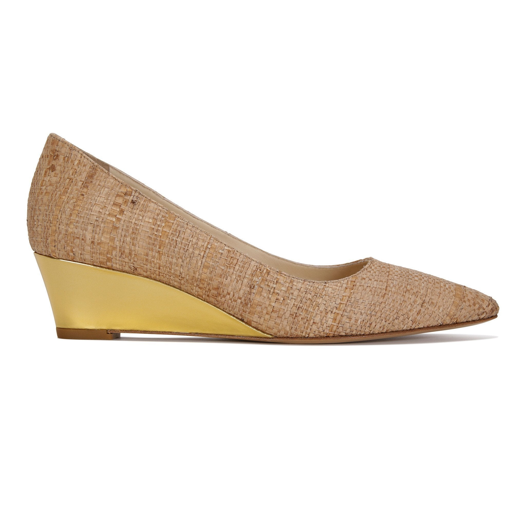 TRENTO - Raffia Natural + Metallic Gold - VIAJIYU Shoes