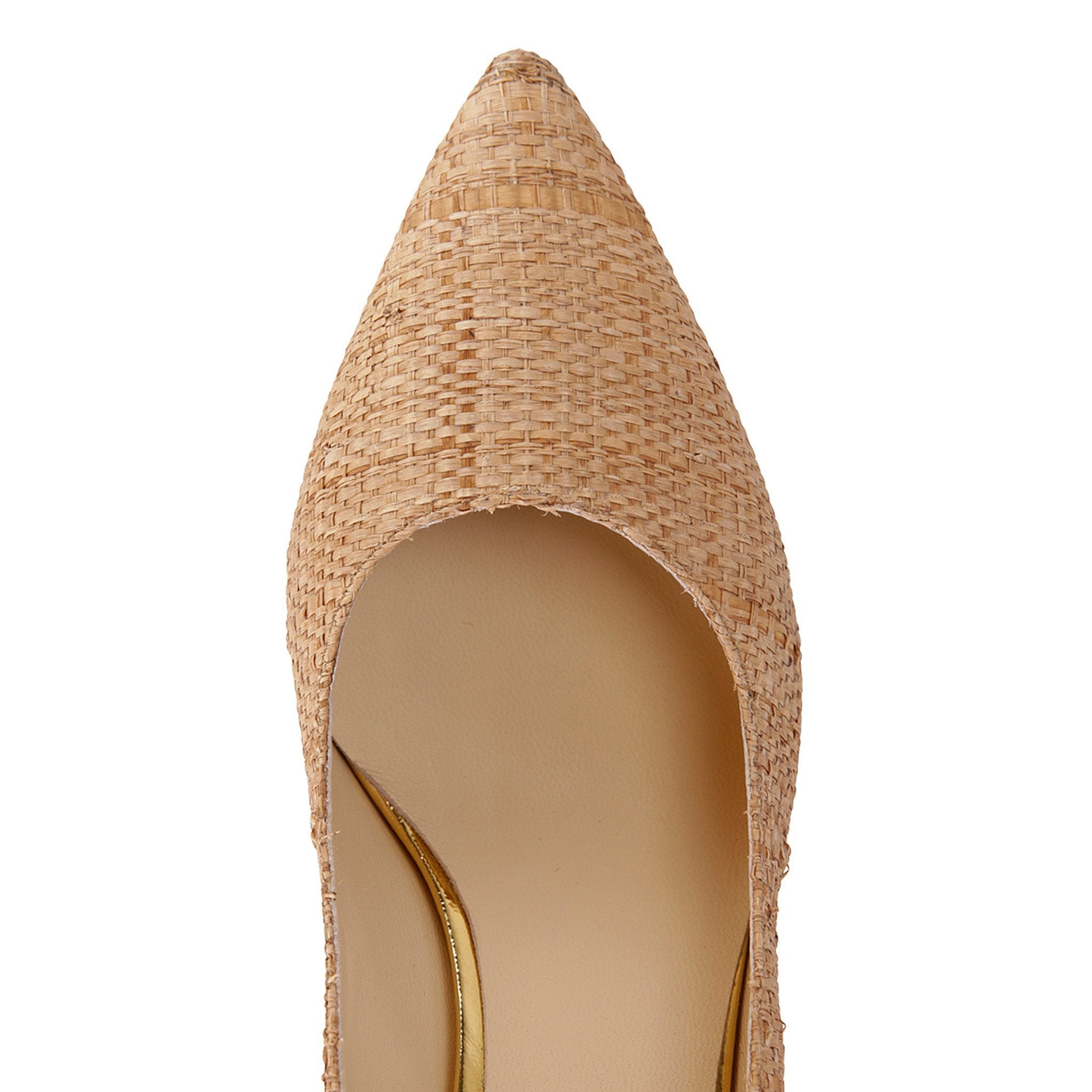 TRENTO - Raffia Natural + Metallic Gold, VIAJIYU - Women's Hand Made Sustainable Luxury Shoes. Made in Italy. Made to Order.