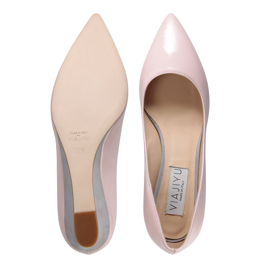 TRENTO - Patent Pink + Karung Grigio, VIAJIYU - Women's Hand Made Sustainable Luxury Shoes. Made in Italy. Made to Order.