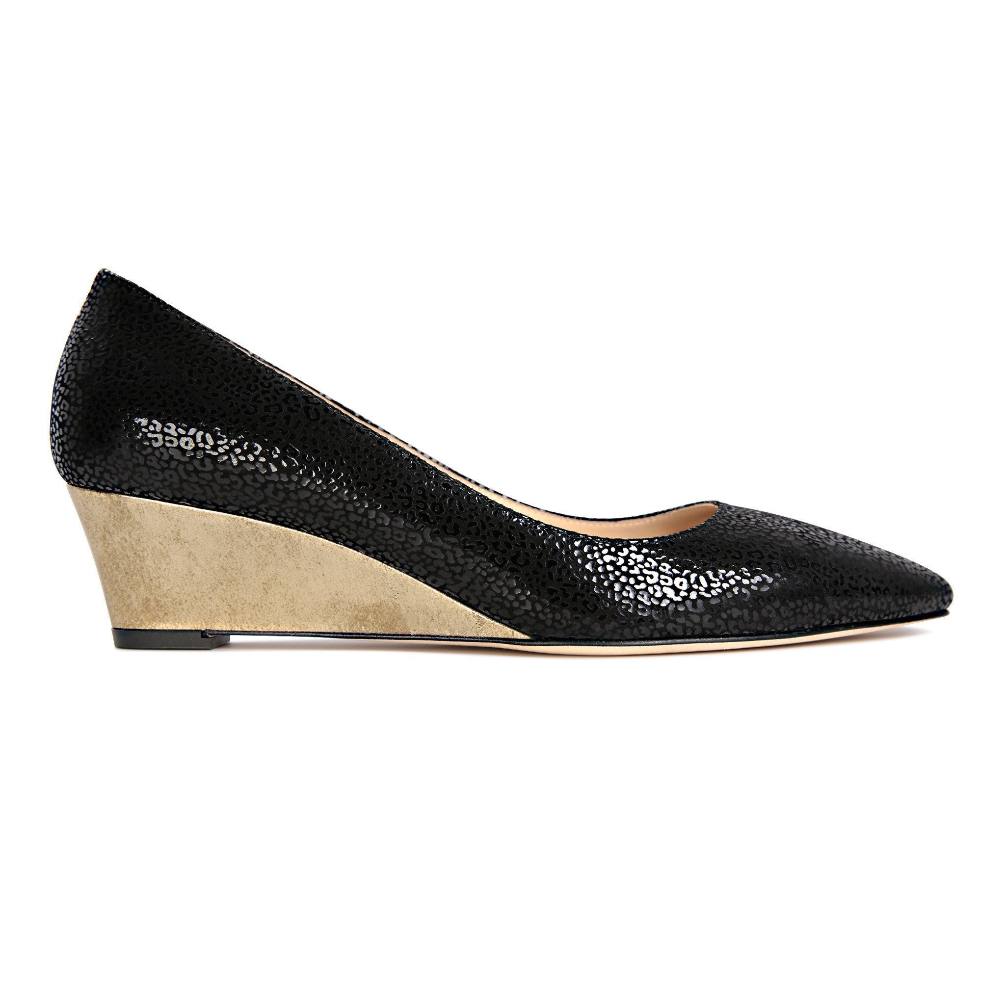 TRENTO - Savannah Nero + Metallic Spot Gold, VIAJIYU - Women's Hand Made Sustainable Luxury Shoes. Made in Italy. Made to Order.