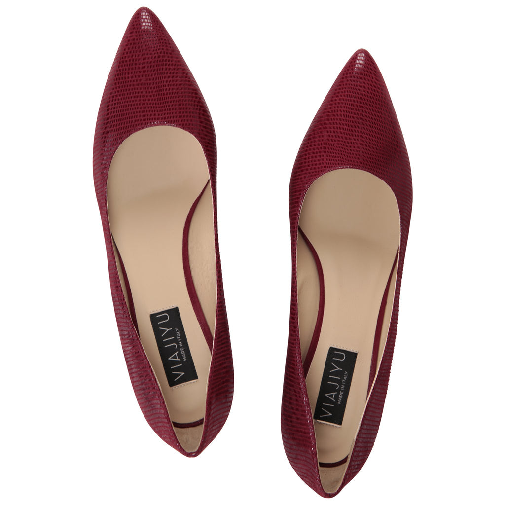 TRENTO - Varanus + Velukid Bordeaux, VIAJIYU - Women's Hand Made Sustainable Luxury Shoes. Made in Italy. Made to Order.