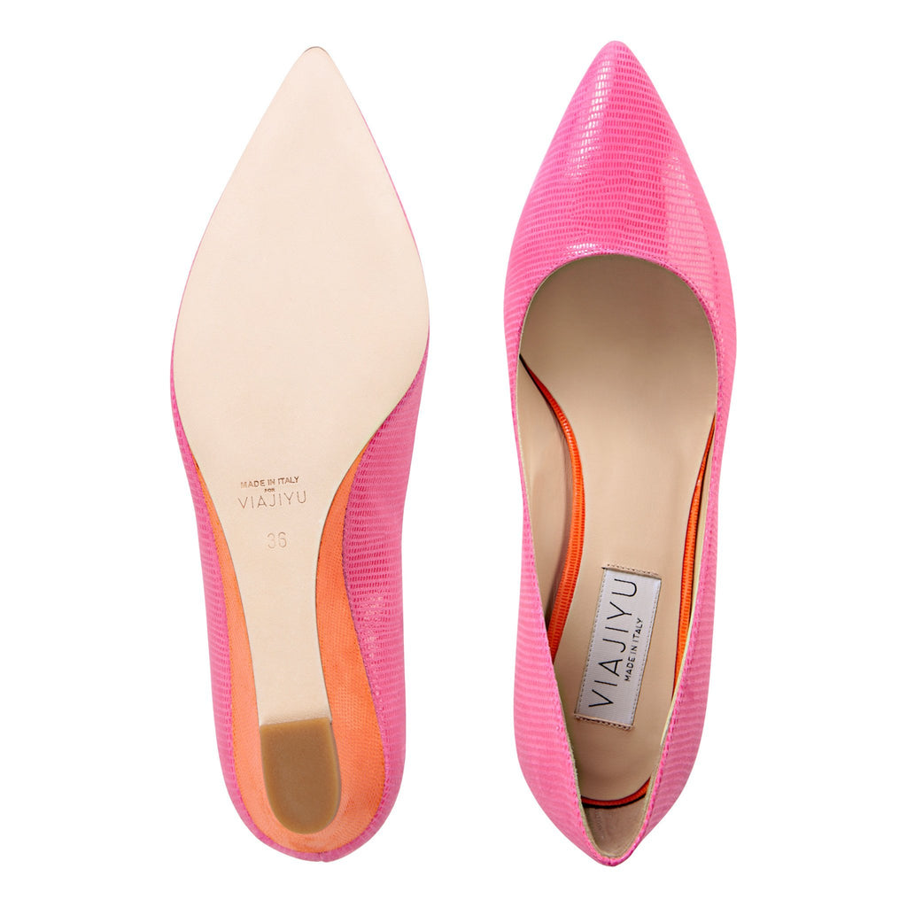TRENTO - Varanus Epiphany Pink + Varanus Tuscan Sunset, VIAJIYU - Women's Hand Made Sustainable Luxury Shoes. Made in Italy. Made to Order.