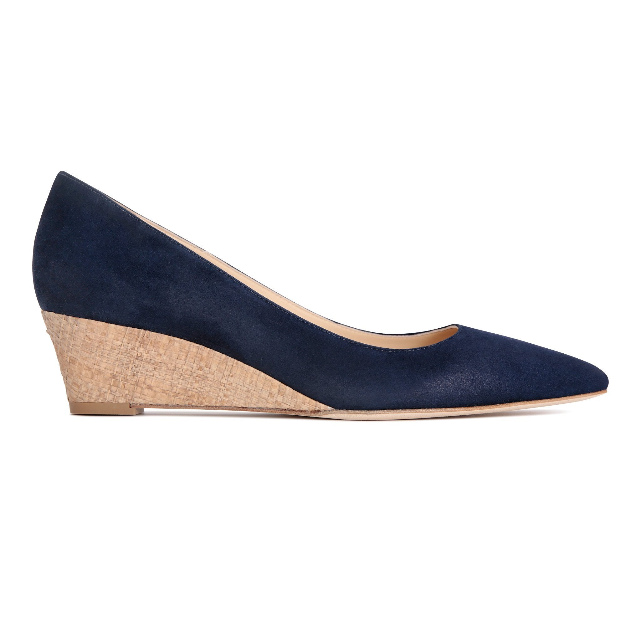 TRENTO - Velukid Midnight + Raffia Natural, VIAJIYU - Women's Hand Made Sustainable Luxury Shoes. Made in Italy. Made to Order.