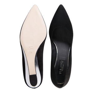 TRENTO - Velukid Nero + Specchio Argento, VIAJIYU - Women's Hand Made Sustainable Luxury Shoes. Made in Italy. Made to Order.