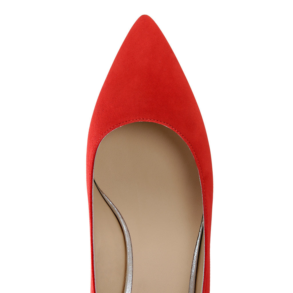 TRENTO - Velukid Rosso + Burma Argento, VIAJIYU - Women's Hand Made Sustainable Luxury Shoes. Made in Italy. Made to Order.