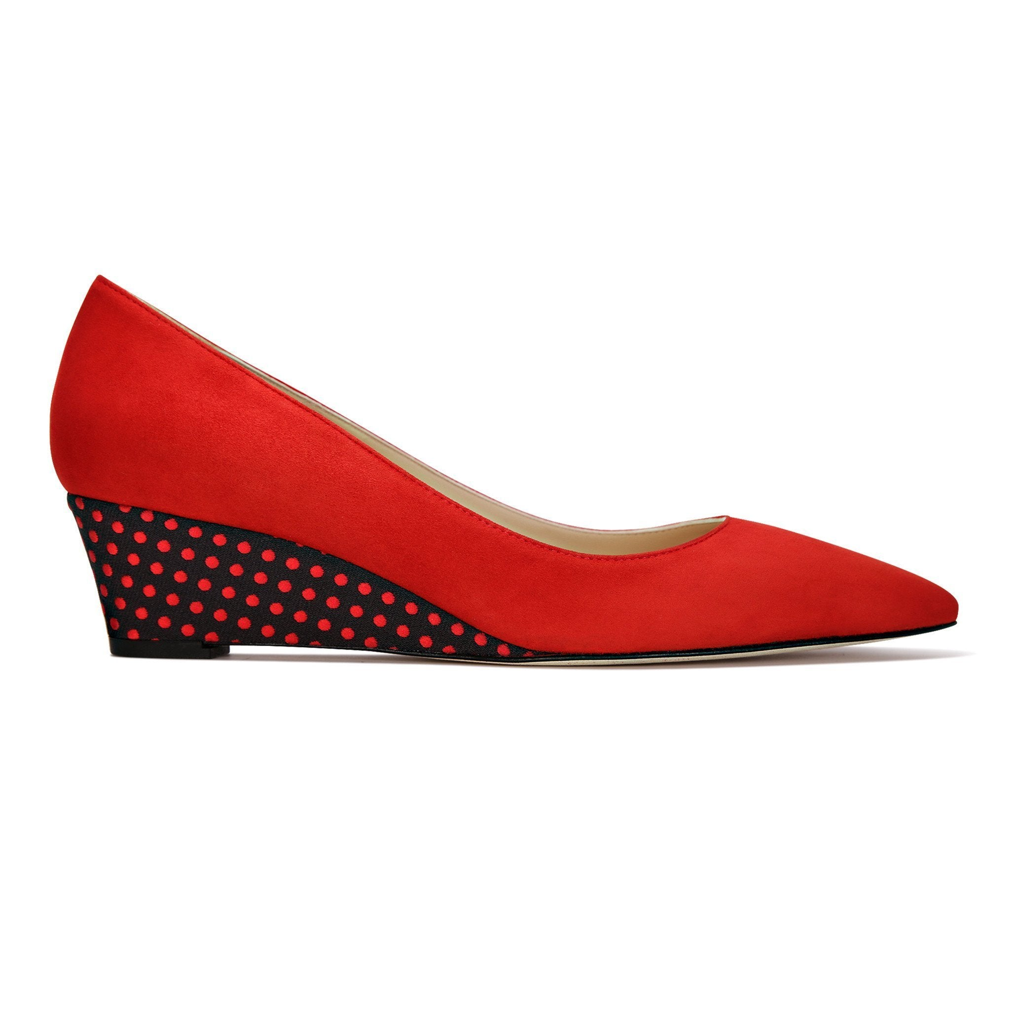 TRENTO - Velukid Rosso + Textile Red Dot on Midnight, VIAJIYU - Women's Hand Made Sustainable Luxury Shoes. Made in Italy. Made to Order.