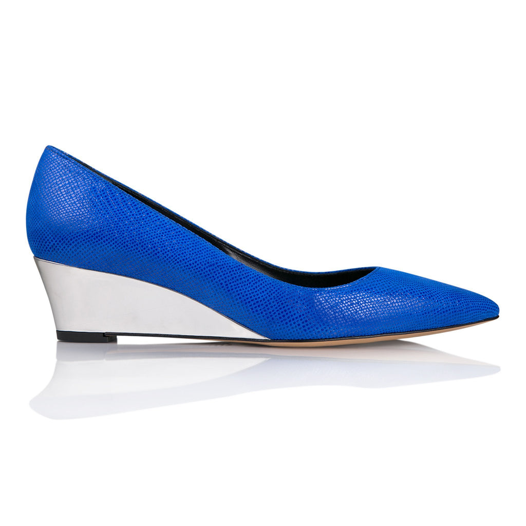 TRENTO - Karung Cobalt + Metallic Argento, VIAJIYU - Women's Hand Made Sustainable Luxury Shoes. Made in Italy. Made to Order.