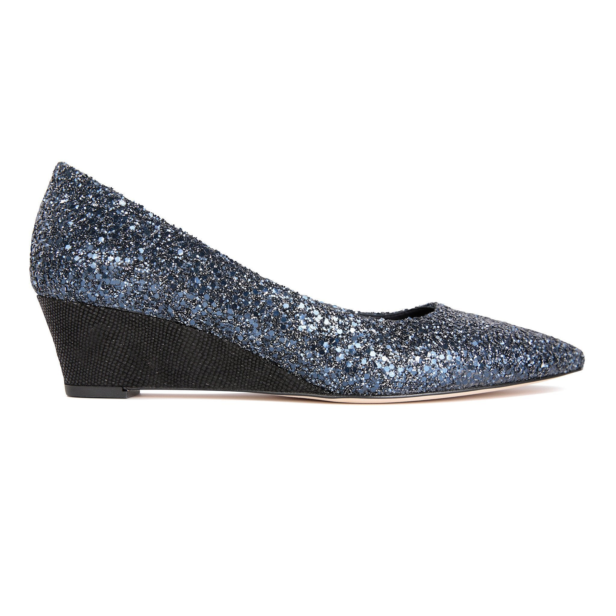 TRENTO - Glitter Midnight + Karung Nero, VIAJIYU - Women's Hand Made Sustainable Luxury Shoes. Made in Italy. Made to Order.