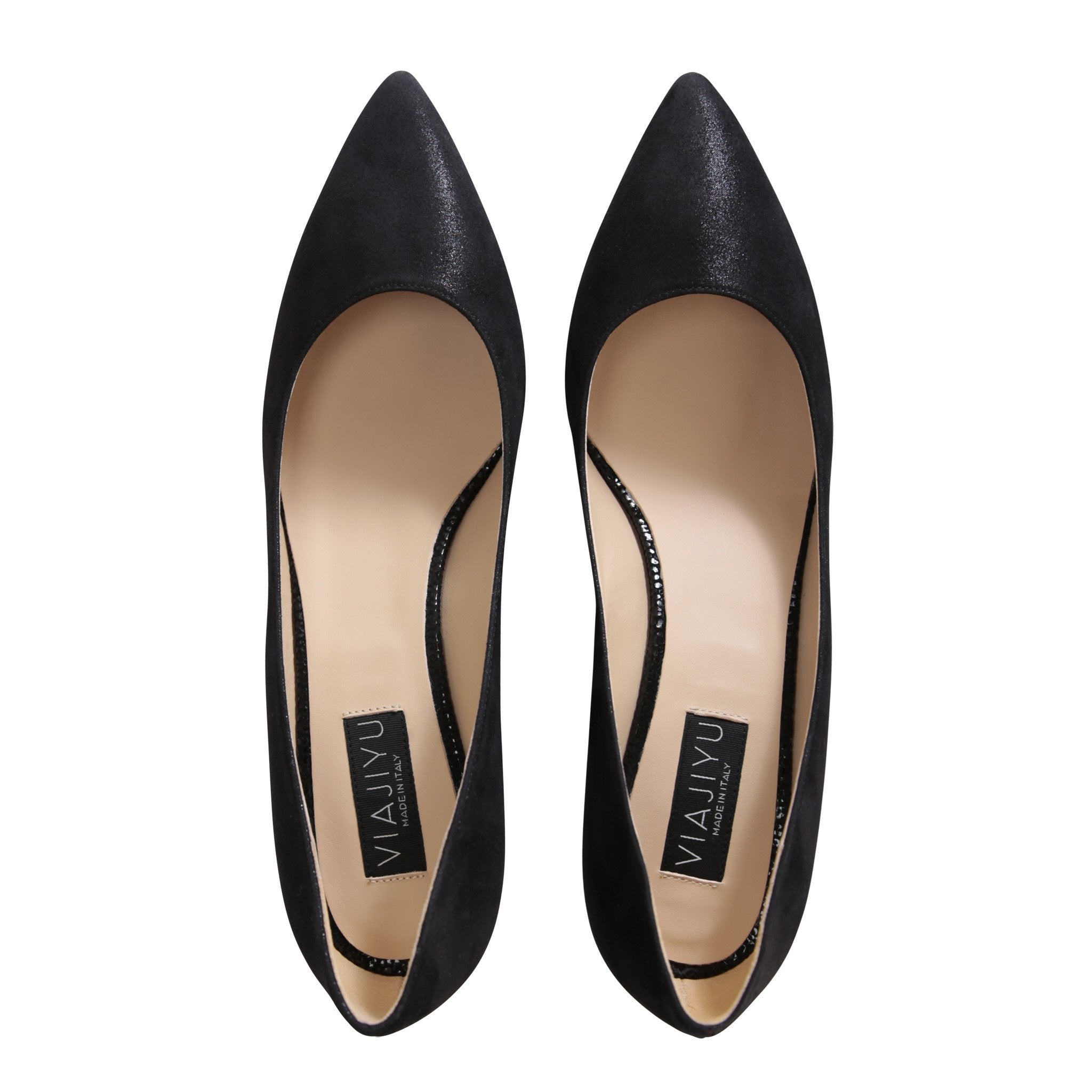 TRENTO - Hydra + Savannah Nero, VIAJIYU - Women's Hand Made Sustainable Luxury Shoes. Made in Italy. Made to Order.