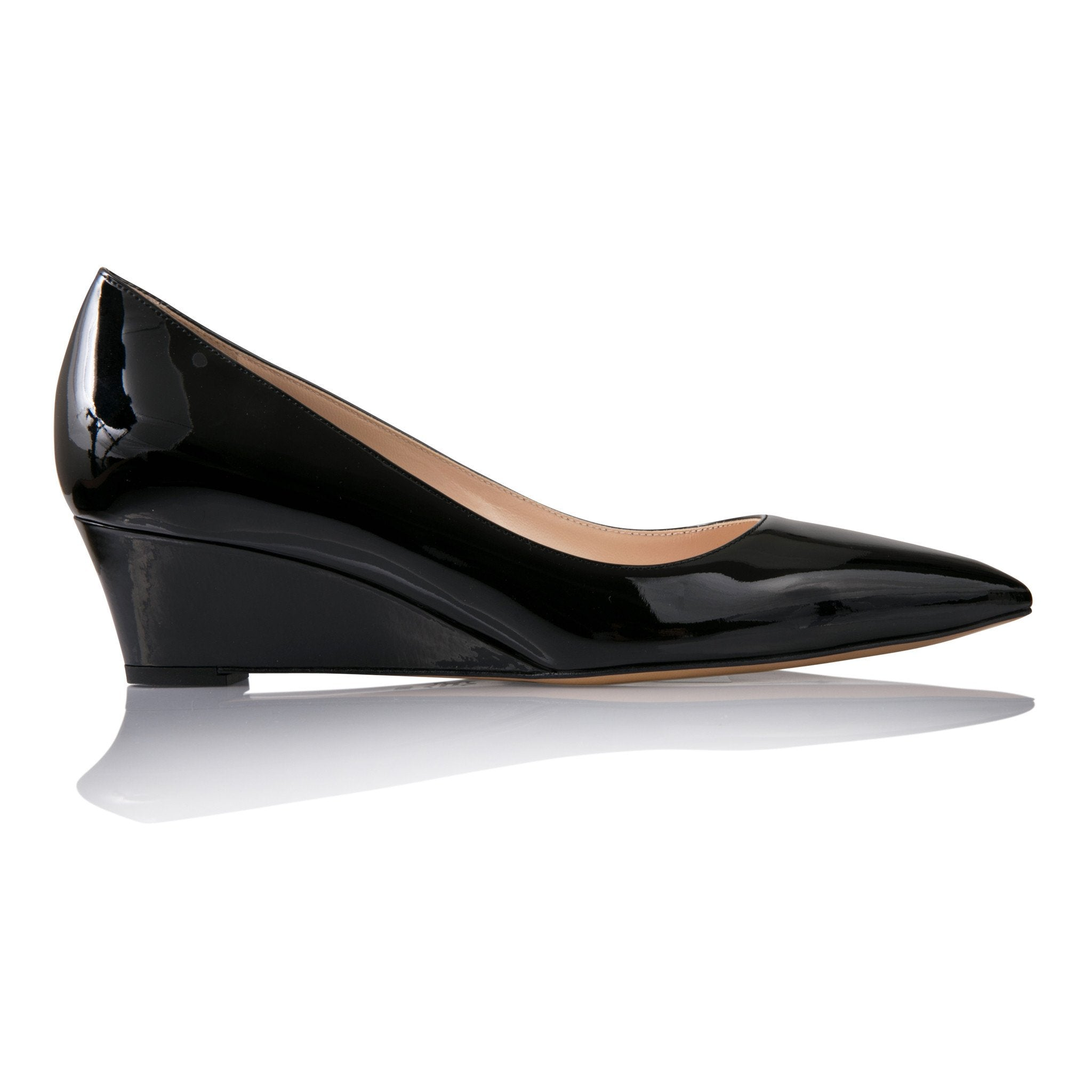 TRENTO - Patent Nero, VIAJIYU - Women's Hand Made Sustainable Luxury Shoes. Made in Italy. Made to Order.