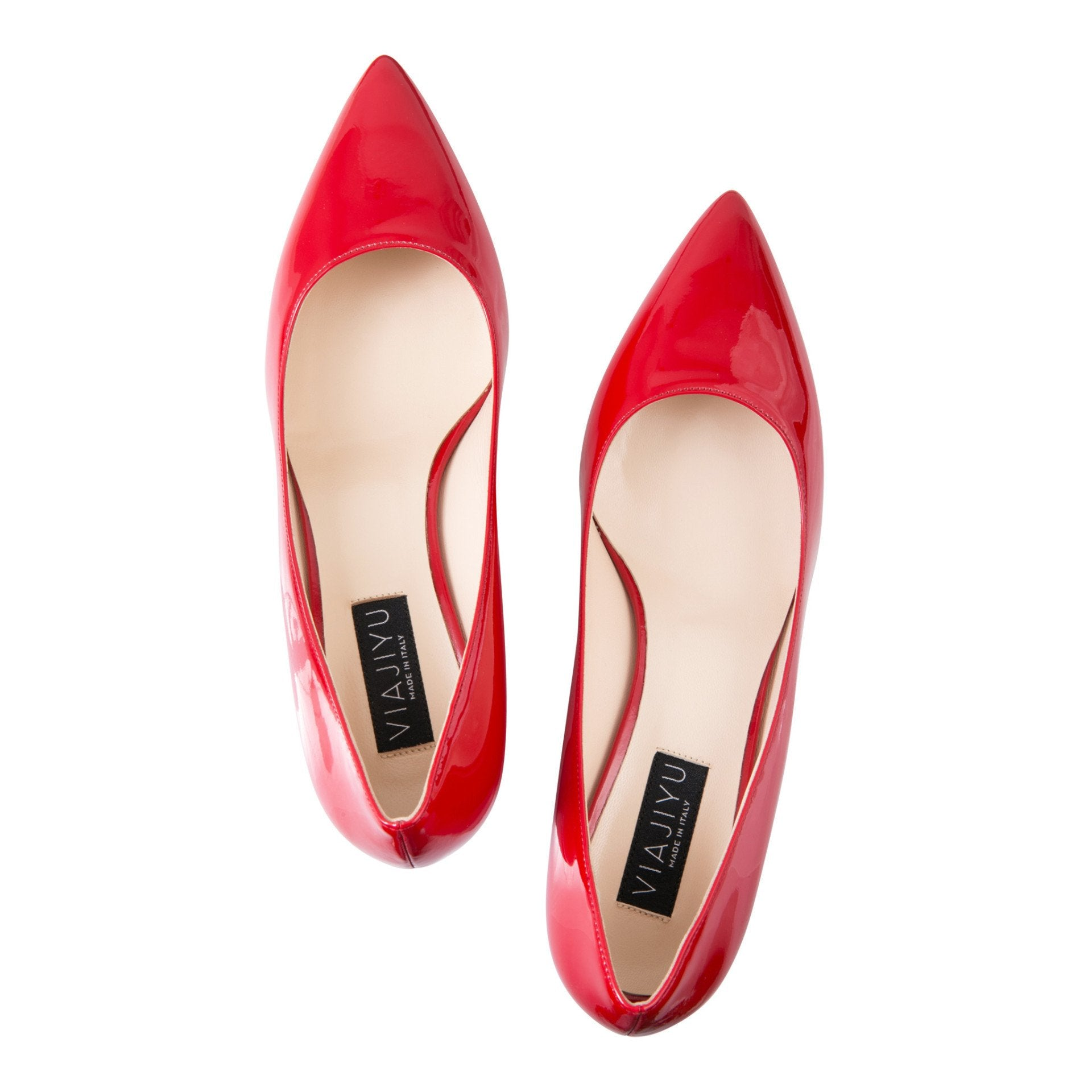 TRENTO - Patent Rosso, VIAJIYU - Women's Hand Made Sustainable Luxury Shoes. Made in Italy. Made to Order.