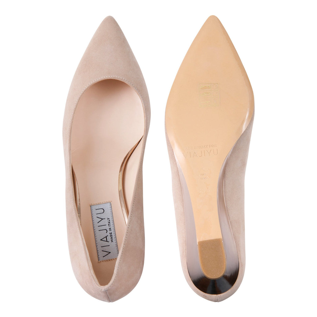 TRENTO - Velukid Tan + Metallic Light Copper, VIAJIYU - Women's Hand Made Sustainable Luxury Shoes. Made in Italy. Made to Order.