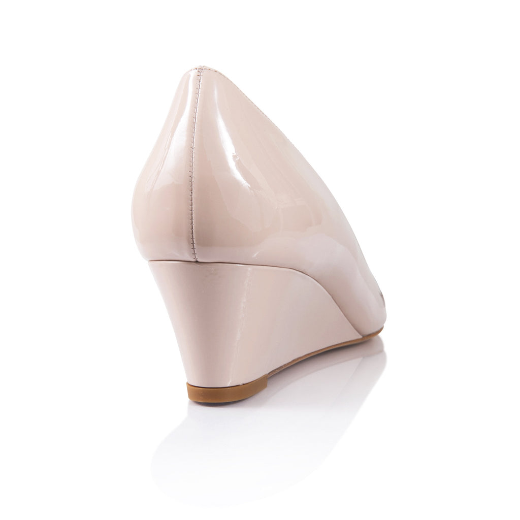 TRENTO - Patent Nude, VIAJIYU - Women's Hand Made Sustainable Luxury Shoes. Made in Italy. Made to Order.
