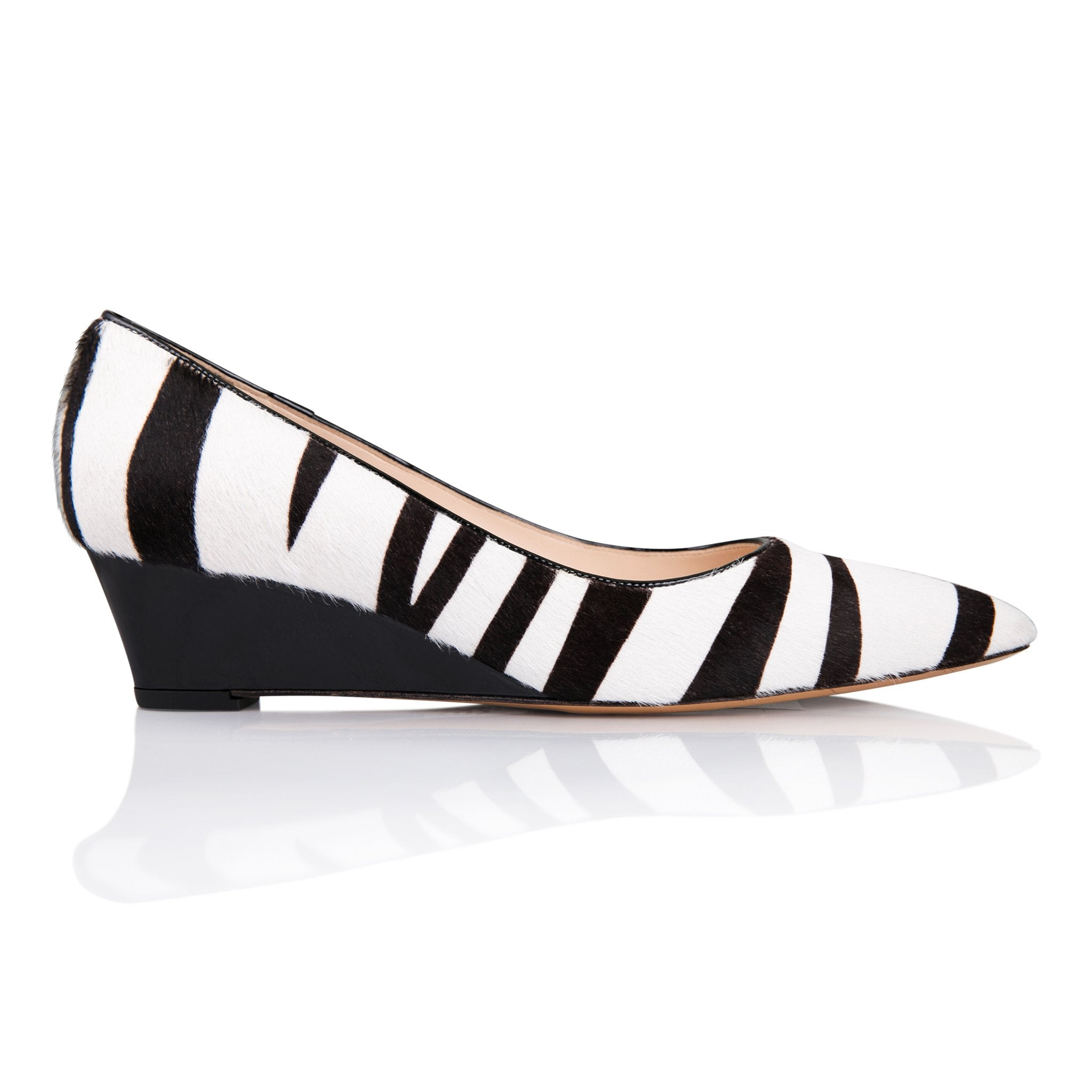 TRENTO - Calf Hair Zebra + Patent Nero, VIAJIYU - Women's Hand Made Sustainable Luxury Shoes. Made in Italy. Made to Order.