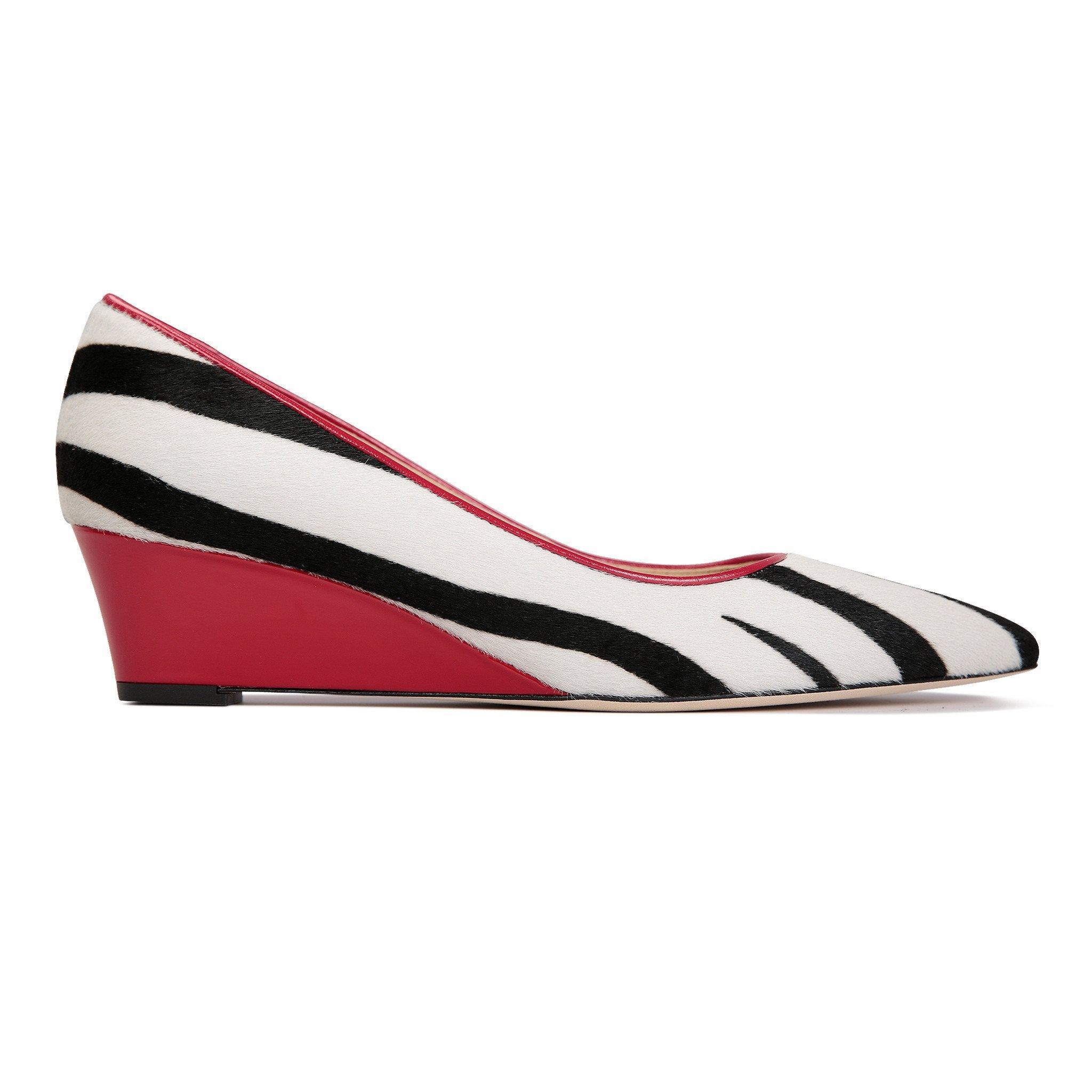 TRENTO - Calf Hair Zebra + Patent Rosso, VIAJIYU - Women's Hand Made Sustainable Luxury Shoes. Made in Italy. Made to Order.