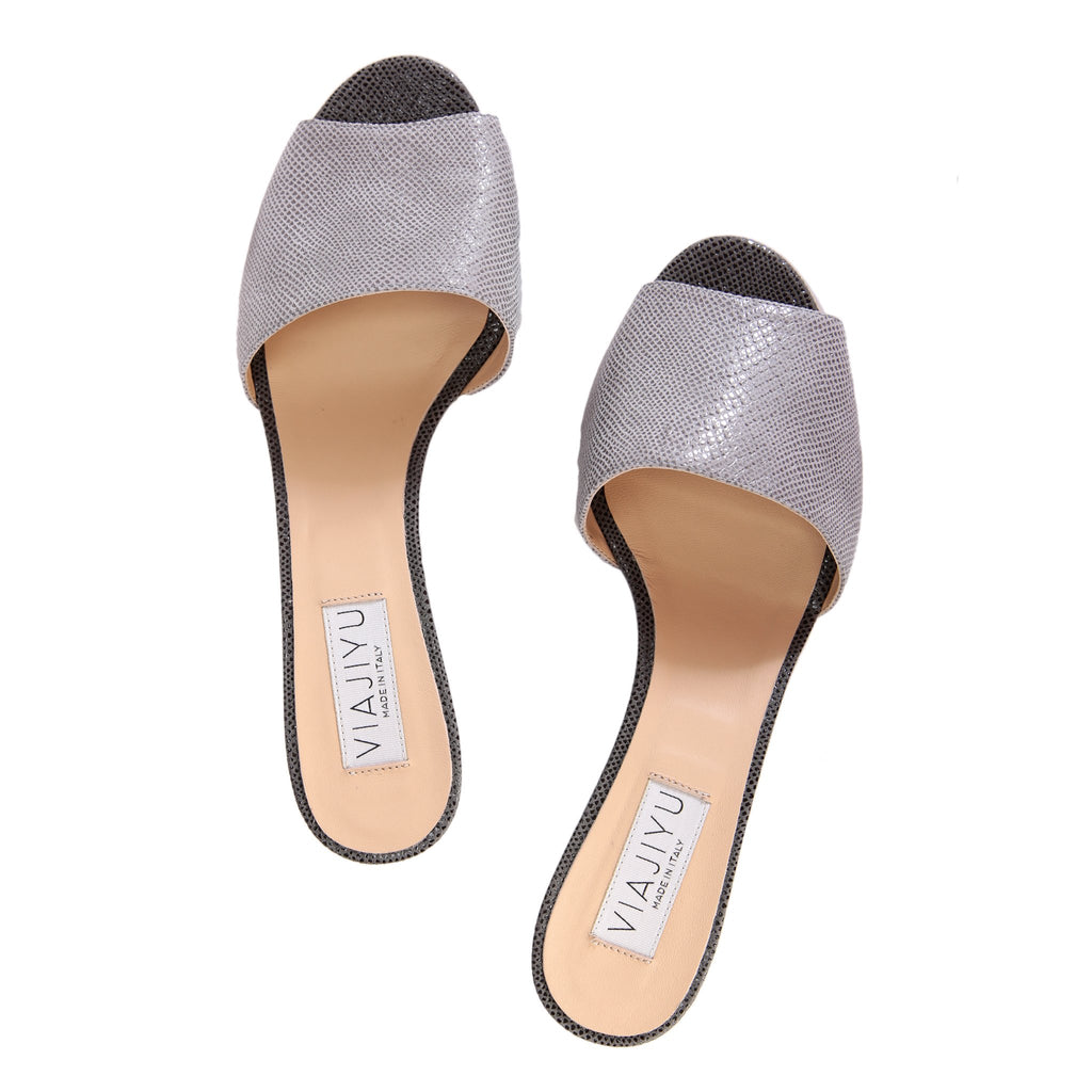 TRIESTE - Karung Grigio + Anthracite, VIAJIYU - Women's Hand Made Sustainable Luxury Shoes. Made in Italy. Made to Order.