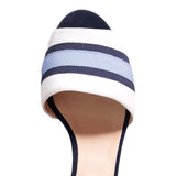 TRIESTE - Velukid Bianco + Stripes + Velukid Midnight, VIAJIYU - Women's Hand Made Sustainable Luxury Shoes. Made in Italy. Made to Order.