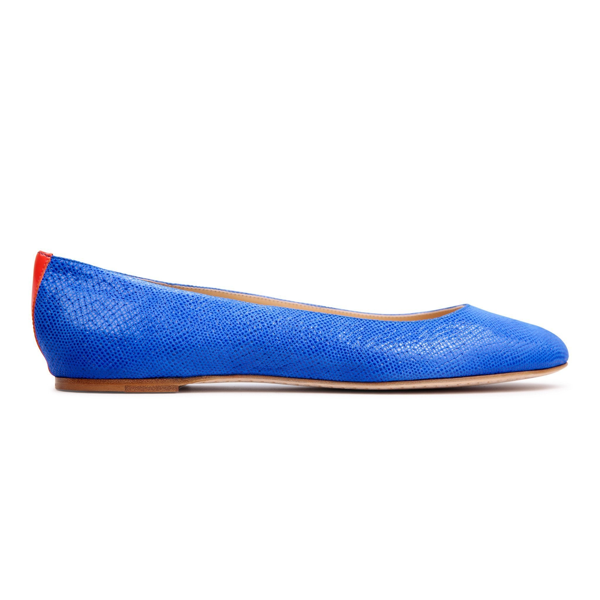 VENEZIA - Velukid Cobalt + Patent Tuscan Sunset, VIAJIYU - Women's Hand Made Sustainable Luxury Shoes. Made in Italy. Made to Order.