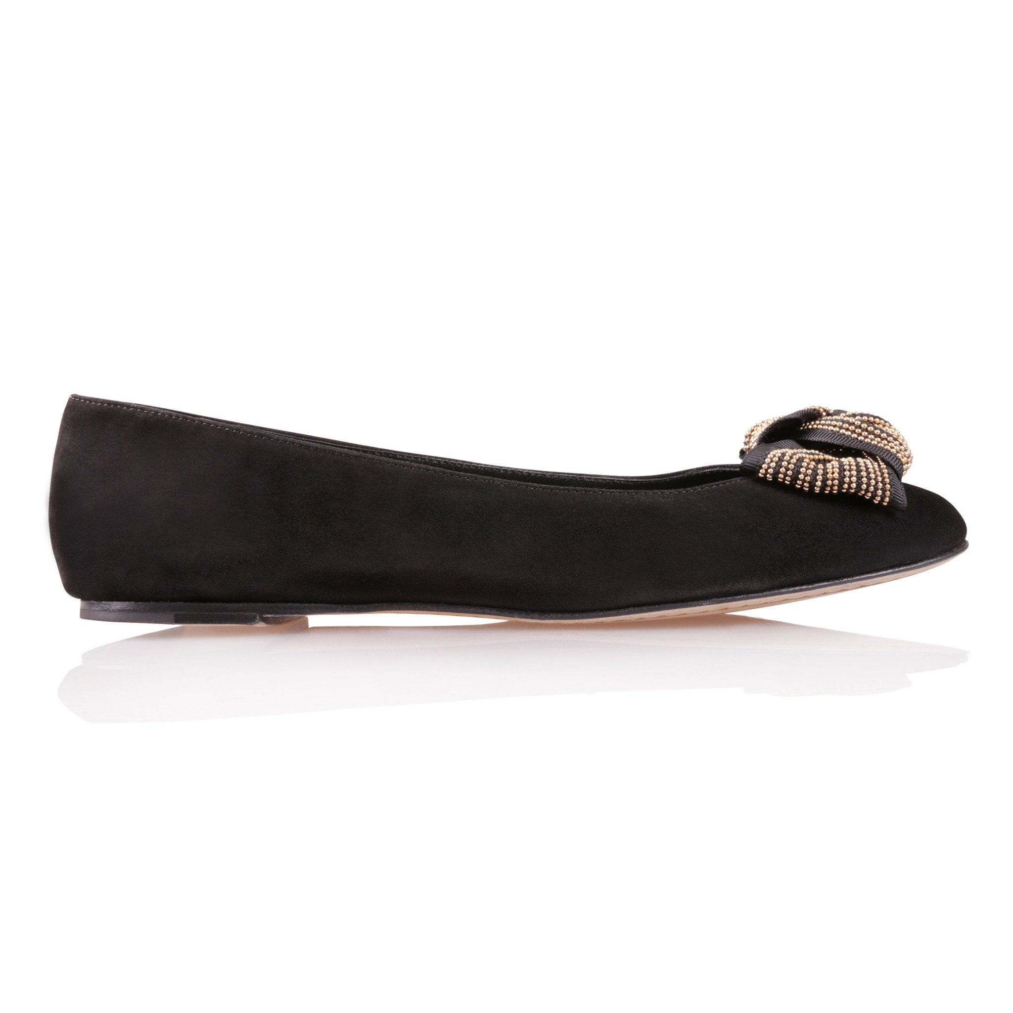 VENEZIA - Velukid Nero + Gold Stud Bow, VIAJIYU - Women's Hand Made Sustainable Luxury Shoes. Made in Italy. Made to Order.