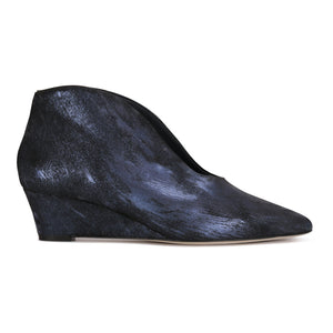 URBINO - Calf Hair Vintage Midnight, VIAJIYU - Women's Hand Made Sustainable Luxury Shoes. Made in Italy. Made to Order.