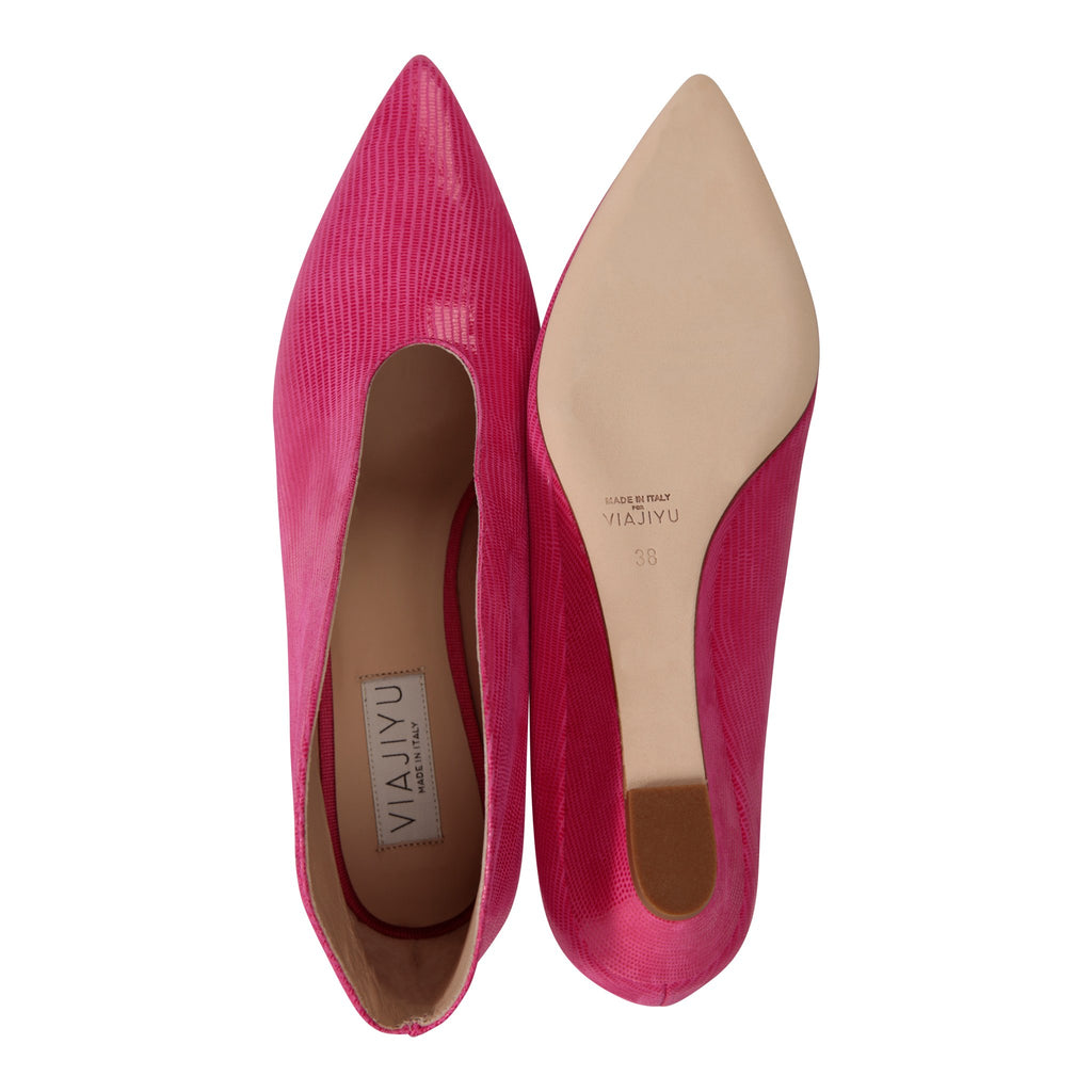 URBINO - Varanus Epiphany Pink, VIAJIYU - Women's Hand Made Sustainable Luxury Shoes. Made in Italy. Made to Order.