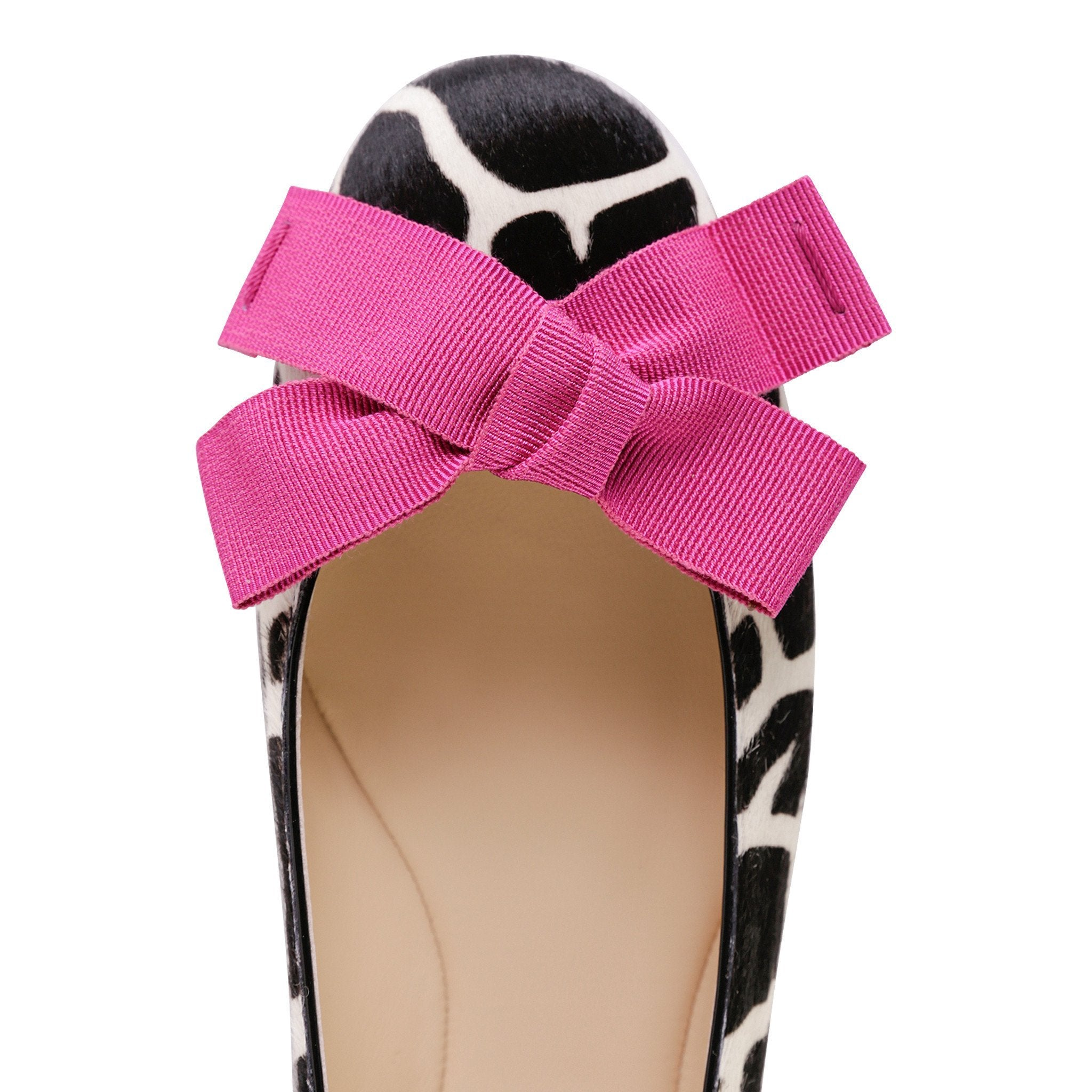 VENEZIA - Calf Hair Ruanda + Grosgrain Fuxia Bow, VIAJIYU - Women's Hand Made Sustainable Luxury Shoes. Made in Italy. Made to Order.