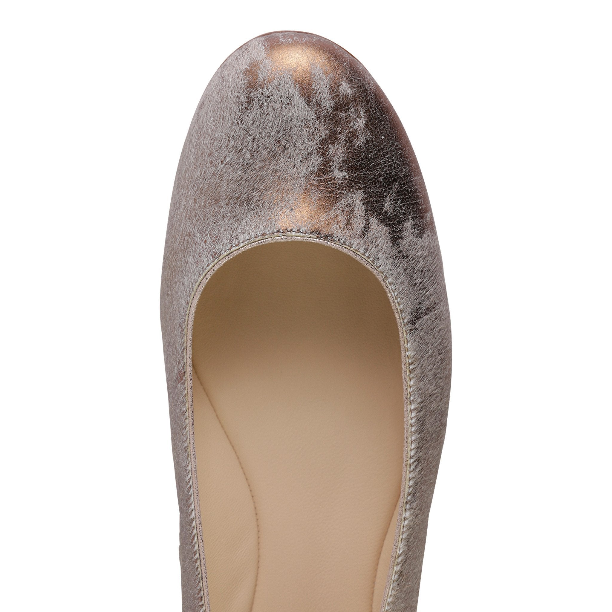 VENEZIA - Calf Hair Vintage Copper, VIAJIYU - Women's Hand Made Sustainable Luxury Shoes. Made in Italy. Made to Order.