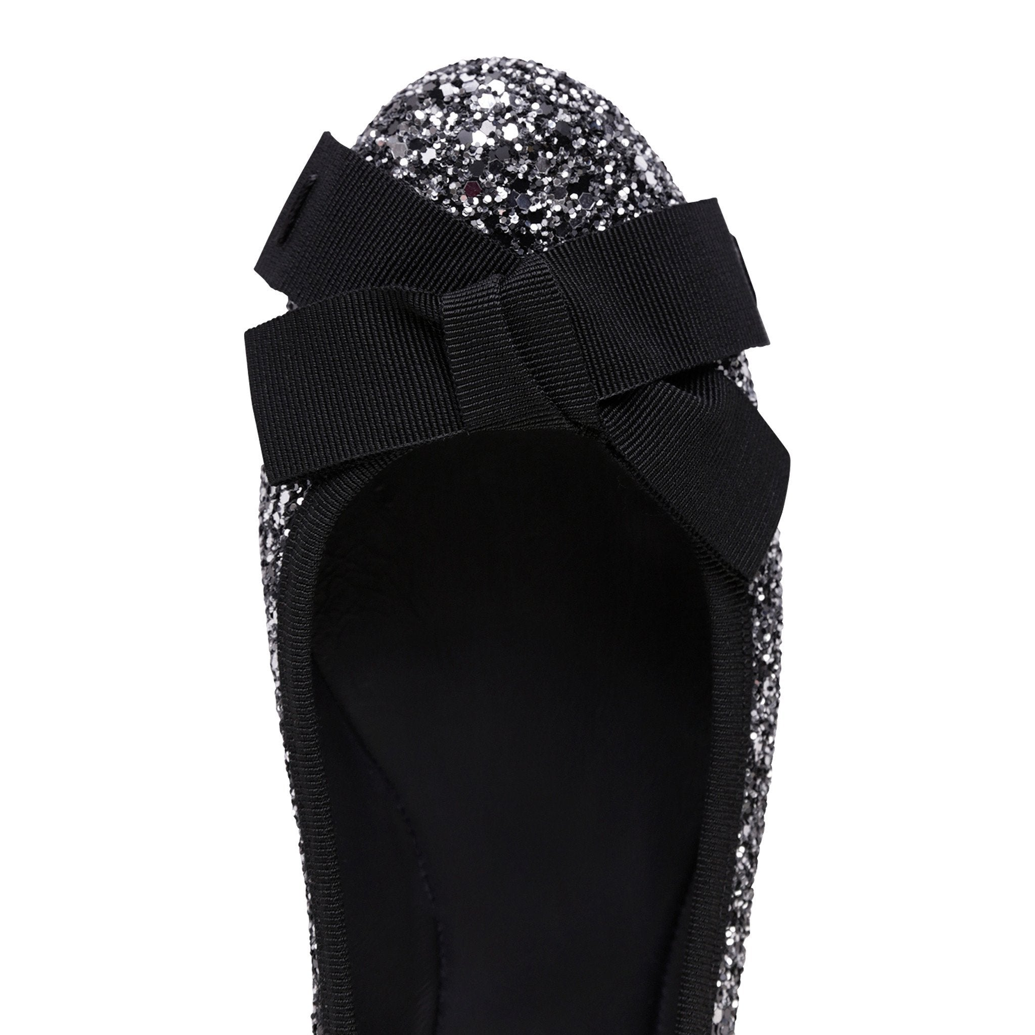 VENEZIA - Glitter Notte + Nero Grosgrain Bow + Trim, VIAJIYU - Women's Hand Made Sustainable Luxury Shoes. Made in Italy. Made to Order.