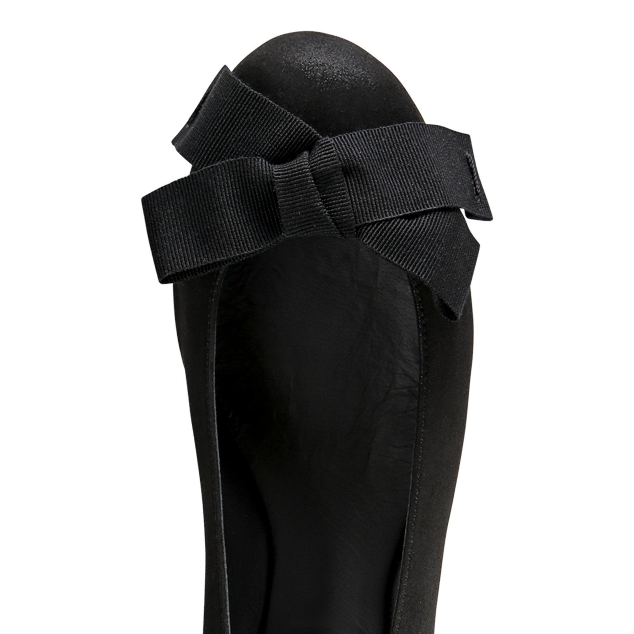 VENEZIA - Hydra Nero + Grosgrain Bow, VIAJIYU - Women's Hand Made Sustainable Luxury Shoes. Made in Italy. Made to Order.