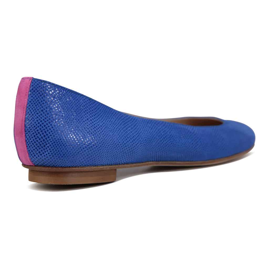 VENEZIA - Karung Cobalt + Epiphany Pink Stripe, VIAJIYU - Women's Hand Made Sustainable Luxury Shoes. Made in Italy. Made to Order.