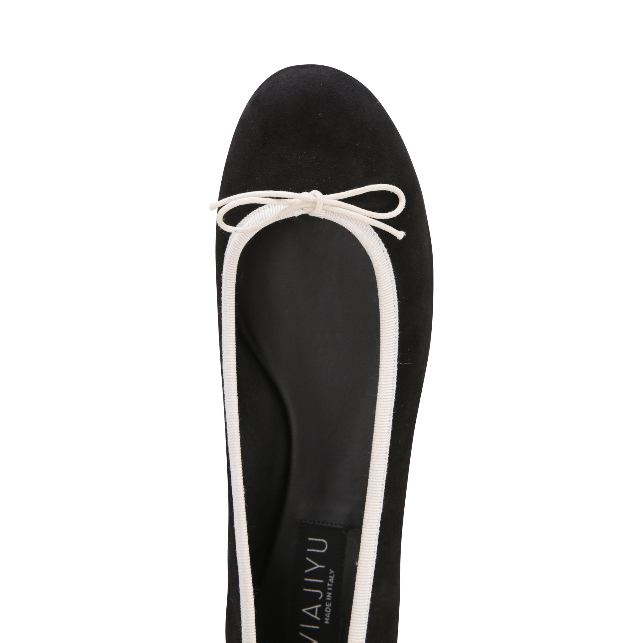VENEZIA - Velukid Nero + Drawstring Panna Bow, VIAJIYU - Women's Hand Made Sustainable Luxury Shoes. Made in Italy. Made to Order.