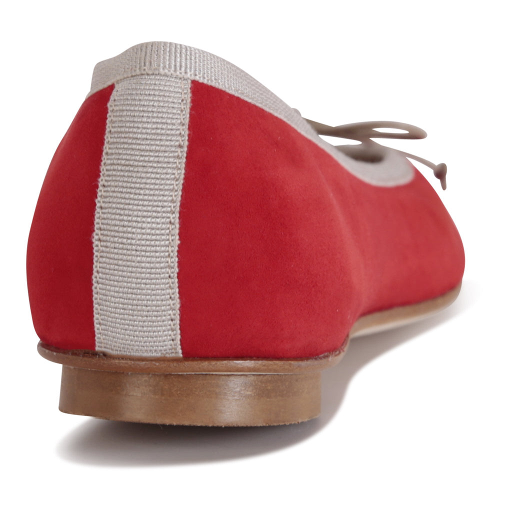 VENEZIA - Velukid Rosso + Drawstring Grigio Bow, VIAJIYU - Women's Hand Made Sustainable Luxury Shoes. Made in Italy. Made to Order.