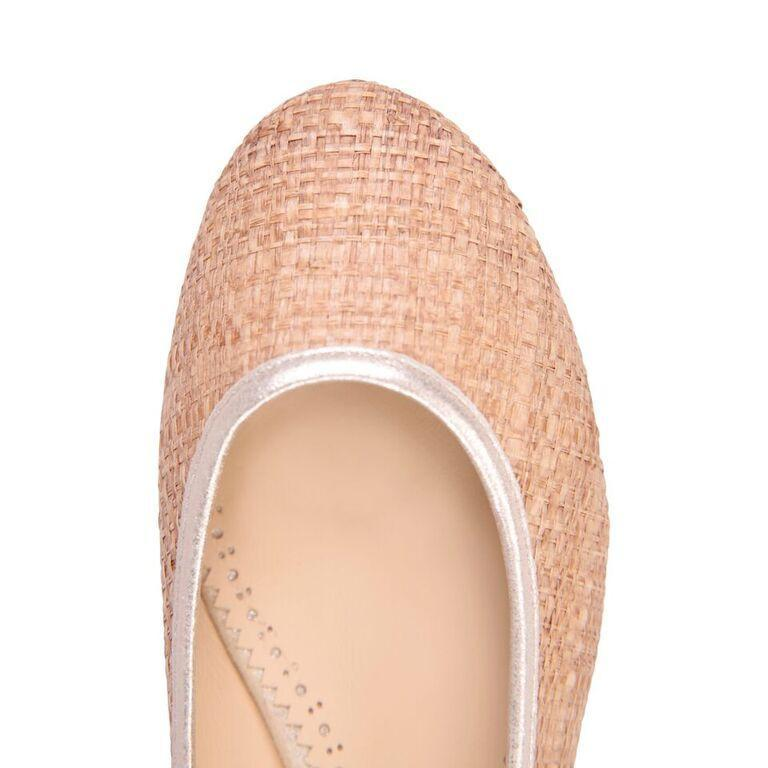 ROMA - Raffia Natural + Burma Platino Trim, VIAJIYU - Women's Hand Made Sustainable Luxury Shoes. Made in Italy. Made to Order.