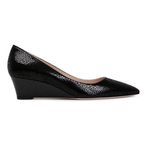 TRENTO - Savannah + Patent Nero, VIAJIYU - Women's Hand Made Sustainable Luxury Shoes. Made in Italy. Made to Order.