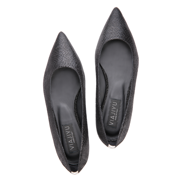 COMO - Karung Nero + Metallic Argento Back Stripe, VIAJIYU - Women's Hand Made Sustainable Luxury Shoes. Made in Italy. Made to Order.