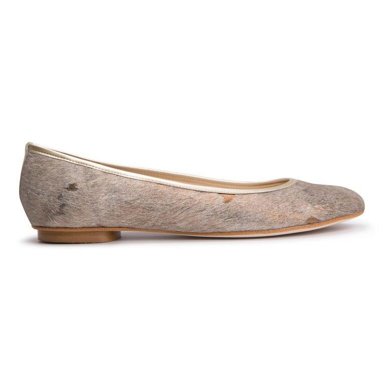 ROMA - Calf Hair Vintage Copper + Back Stripe, VIAJIYU - Women's Hand Made Sustainable Luxury Shoes. Made in Italy. Made to Order.