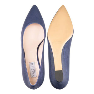 TRENTO - Burma Navy, VIAJIYU - Women's Hand Made Sustainable Luxury Shoes. Made in Italy. Made to Order.