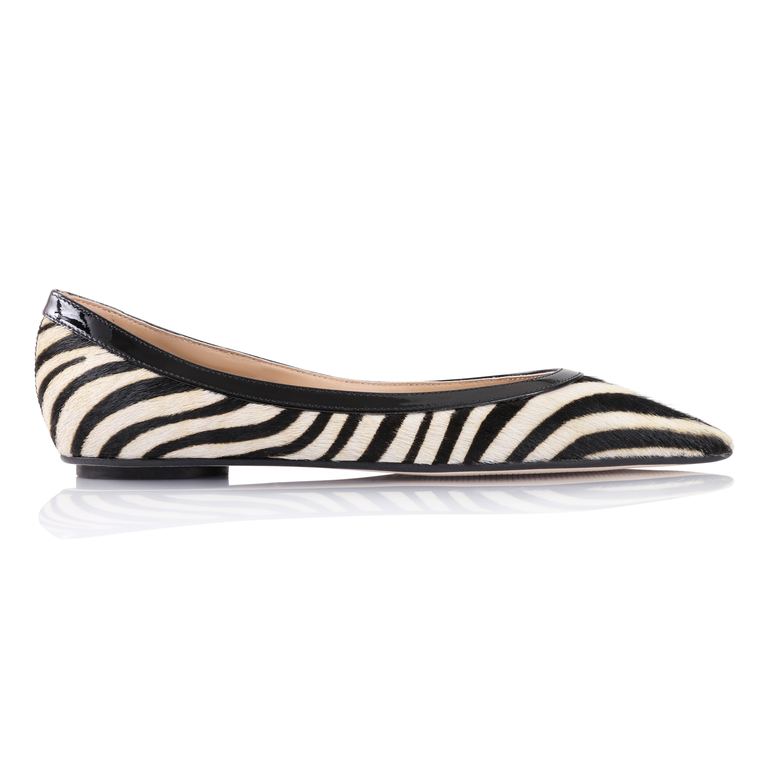 MILANO - Calf Hair Zebra + Patent Nero, VIAJIYU - Women's Hand Made Sustainable Luxury Shoes. Made in Italy. Made to Order.