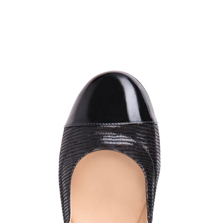 PORTOFINO - Varanus Nero + Patent, VIAJIYU - Women's Hand Made Sustainable Luxury Shoes. Made in Italy. Made to Order.