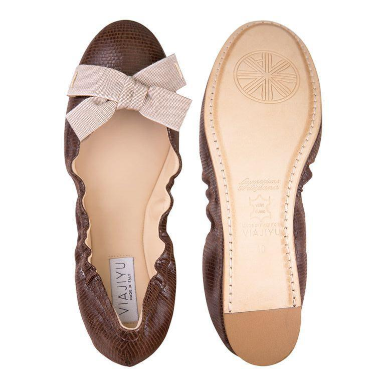 PORTOFINO - Varanus Espresso + Grosgrain Cippola Bow, VIAJIYU - Women's Hand Made Sustainable Luxury Shoes. Made in Italy. Made to Order.