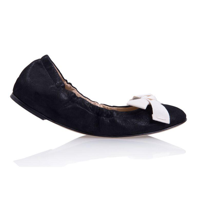 PORTOFINO - Hydra Nero + Grosgrain Panna Bow, VIAJIYU - Women's Hand Made Sustainable Luxury Shoes. Made in Italy. Made to Order.